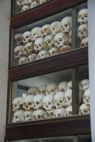 s慰安塔の中にある頭蓋骨